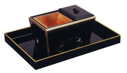 角香炉セット欅(オトシ蓋付)(黒斑塗金塗)