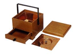 角型手堤香炉(栓)(オトシ蓋付)幅4寸奥12cm高12cm詳細